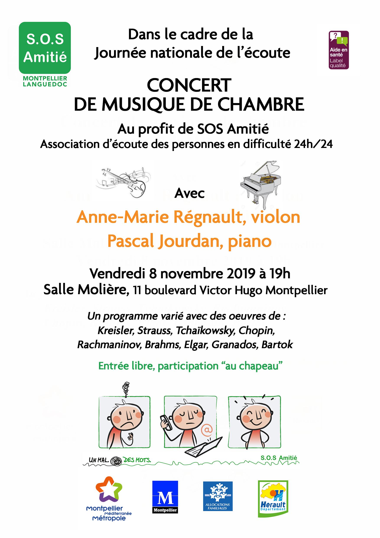 CONCERT SALLE MOLIERE SOS AMITIE MONTPELLIER 8 Novembre 2019